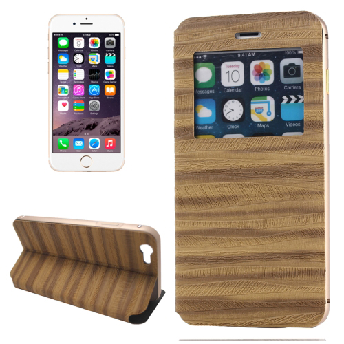 2 in 1 Metal Bumper Frame Leather Case for iPhone 6 with Caller ID Display (Brown)