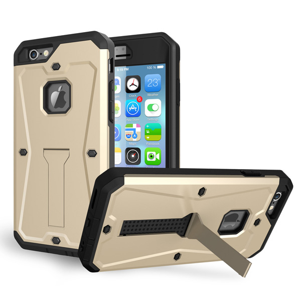3 in 1 Pattern Tank Style TPU and PC Hybrid Protective Cover for iPhone 6 with Kickstand & Built-in Screen Protector (Gold)