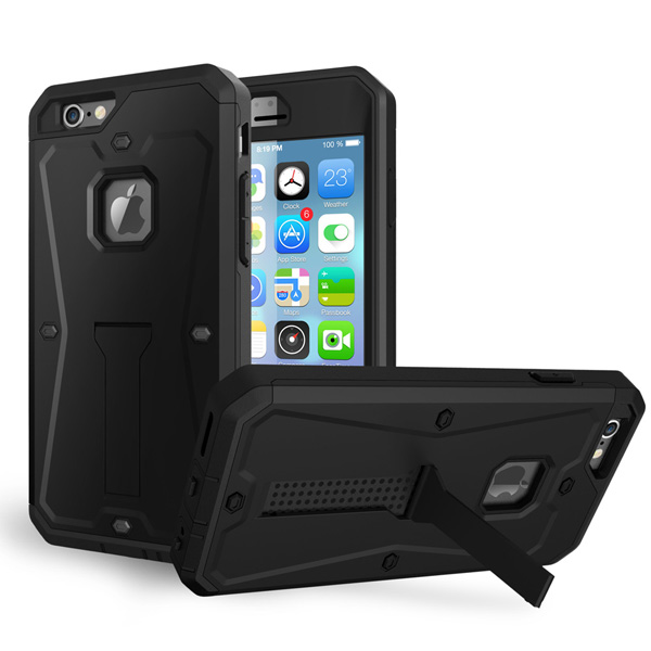 3 in 1 Pattern Tank Style TPU and PC Hybrid Protective Cover for iPhone 6 with Kickstand & Built-in Screen Protector (Black)
