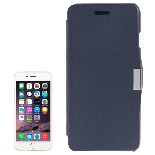 Brush Texture Flip Stand Leather Wallet Case for iPhone 6 with Logo Hole (Dark Blue)