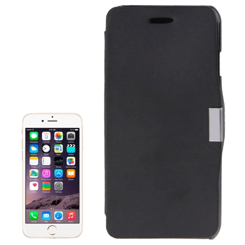 Brush Texture Flip Stand Leather Wallet Case for iPhone 6 with Logo Hole (Black)