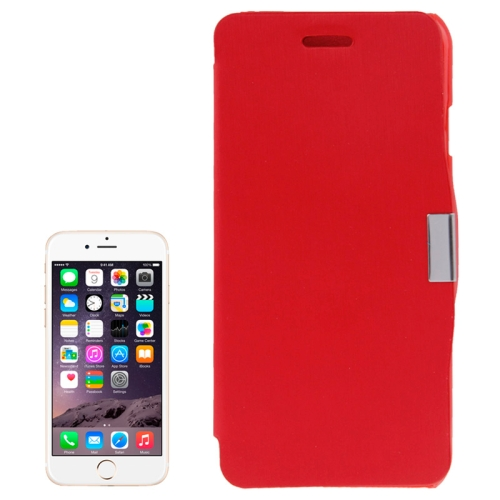 Brush Texture Flip Stand Leather Wallet Case for iPhone 6 with Logo Hole (Red)