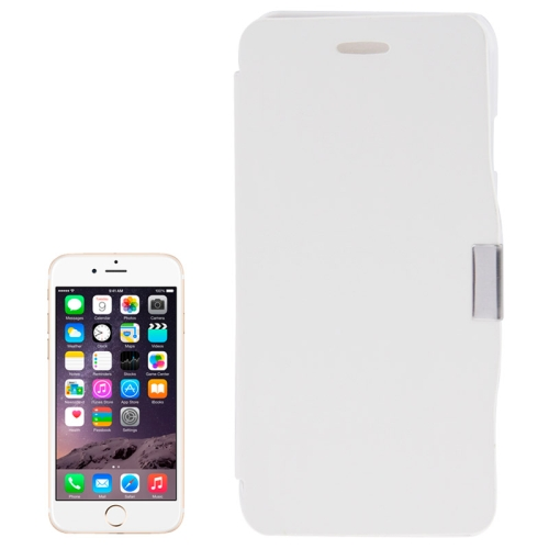 Brush Texture Flip Stand Leather Wallet Case for iPhone 6 with Logo Hole (White)