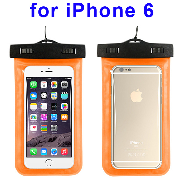 Universal PVC IPX8 Waterproof Bag for iPhone 6, and Other Smart Phones in Similar Sizes (Orange)