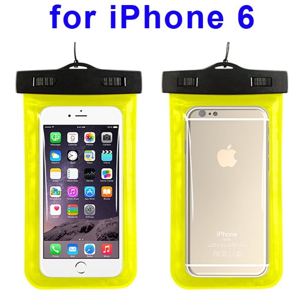 Universal PVC IPX8 Waterproof Bag for iPhone 6, and Other Smart Phones in Similar Sizes (Yellow)