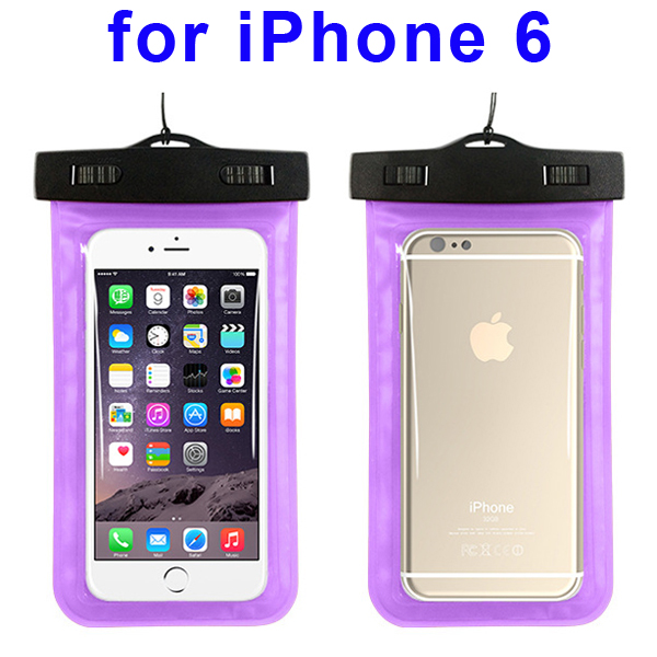 Universal PVC IPX8 Waterproof Bag for iPhone 6, and Other Smart Phones in Similar Sizes (Purple)
