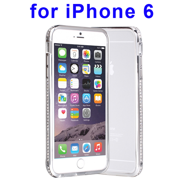 Luxury Diamond-studded Pattern Metal Bumper Frame Case for iPhone 6 (Silver)
