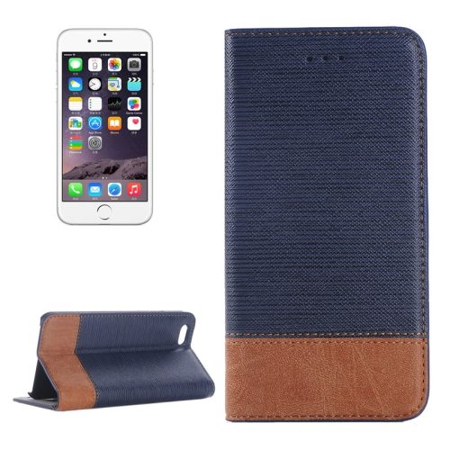 Cross Texture Wallet Style Leather Case for iPhone 6 with Holder and Card Slots (Dark Blue)