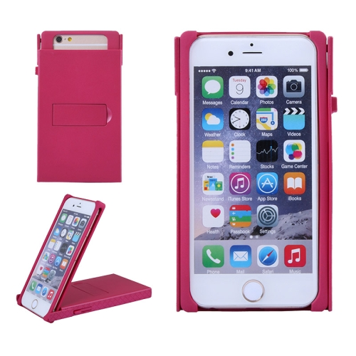 Concise Style Solid Color Hard Case for iPhone 6 with Holder (Rose)