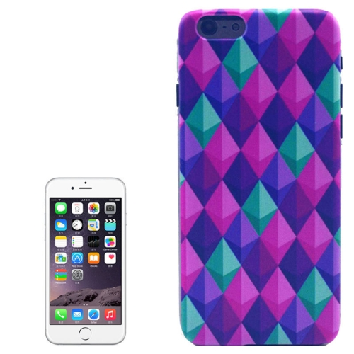 Hot Items Colored Drawing Transparent Frame Protective PC Case for iPhone 6 (Diamond Pattern)
