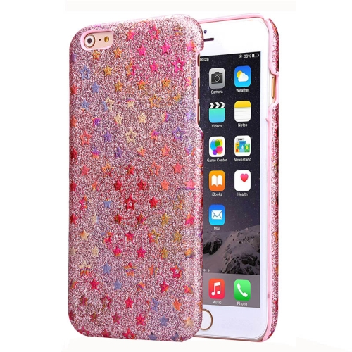 Flash Powder Series Colorful Shiny Star Pattern PU Leather Coated Plastic Case for iPhone 6 (Pink)