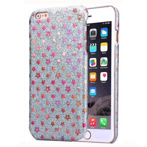 Flash Powder Series Colorful Shiny Star Pattern PU Leather Coated Plastic Case for iPhone 6 (Gray)