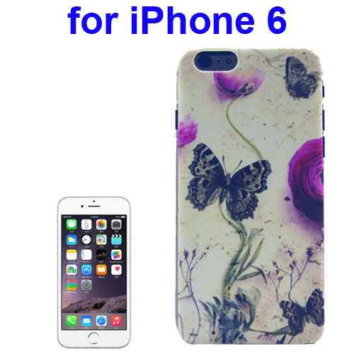Transparent Frame Colored Drawing PC Case for iPhone 6 (Butterfly Pattern)