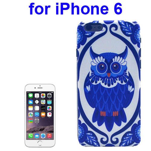 Transparent Frame Colored Drawing PC Case for iPhone 6 (Owl Pattern)