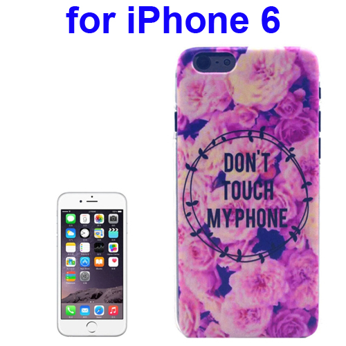 Transparent Frame Colored Drawing PC Case for iPhone 6 (Dont Touch My Phone Pattern)