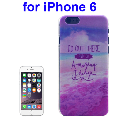 Transparent Frame Colored Drawing PC Case for iPhone 6 (Get Out There And Do Amazing Things Pattern)