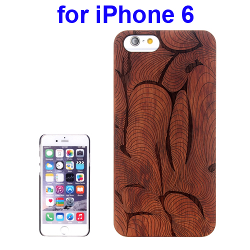 Protective Rosewood Wood Paste PC Hard Case for iPhone 6 (Abstract Carved Pattern)