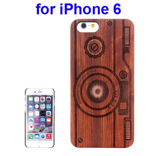 Protective Rosewood Wood Paste PC Hard Case for iPhone 6 (Camera Carved Pattern)