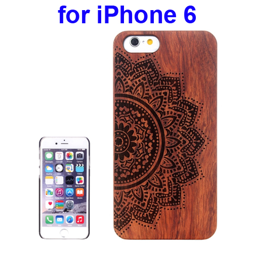 Protective Rosewood Wood Paste PC Hard Case for iPhone 6 (Ethnic Flower Carved Pattern)