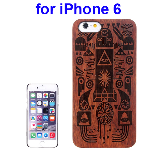 Protective Rosewood Wood Paste PC Hard Case for iPhone 6 (Cartoon Carved Pattern)