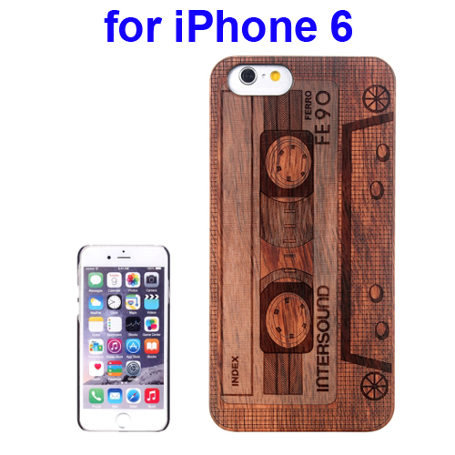 Protective Rosewood Wood Paste PC Hard Case for iPhone 6 (Casette Carved Pattern)