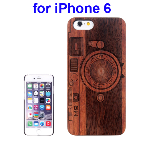 Protective Rosewood Wood Paste PC Hard Case for iPhone 6 (Darker Camera Carved Pattern)