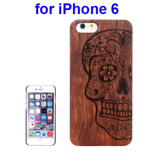 Protective Rosewood Wood Paste PC Hard Case for iPhone 6 (Skull Carved Pattern)