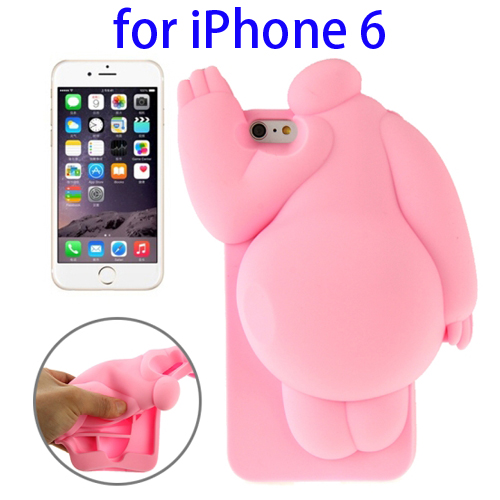 Cute Design 3D Baymax Pattern Protective Silicone Case for iPhone 6 (Pink)