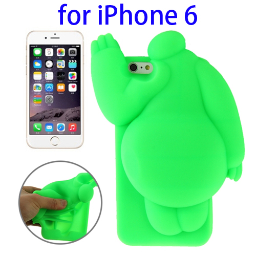 Cute Design 3D Baymax Pattern Protective Silicone Case for iPhone 6 (Green)
