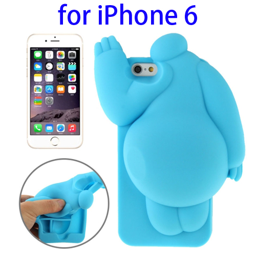 Cute Design 3D Baymax Pattern Protective Silicone Case for iPhone 6 (Blue)
