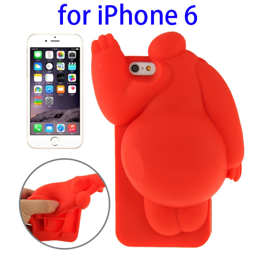 Cute Design 3D Baymax Pattern Protective Silicone Case for iPhone 6 (Red)