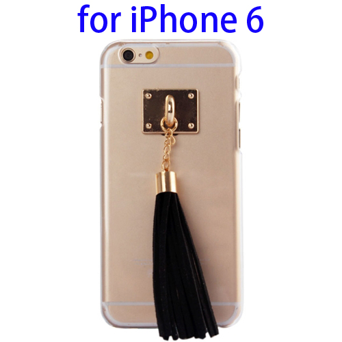 Creative Tassels Ornament Transparent Protective Hard PC Case for iPhone 6 (Black)