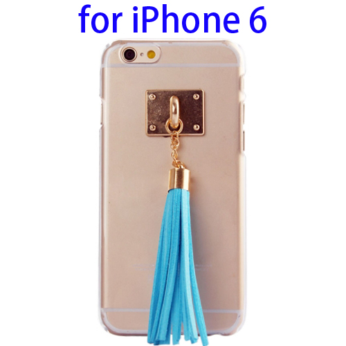 Creative Tassels Ornament Transparent Protective Hard PC Case for iPhone 6 (Blue)