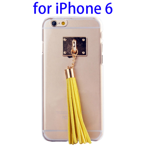 Creative Tassels Ornament Transparent Protective Hard PC Case for iPhone 6 (Yellow)