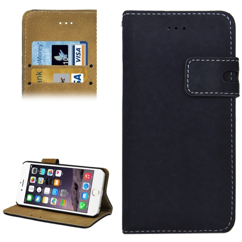 Angibabe Frosted Horizontal Wallet Style PU Leather Cell Phone Case Cover for iPhone 6 (Dark Blue)