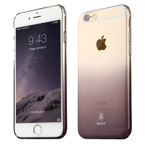 Baseus Transparent Gradient Color 0.75mm Ultra-thin Soft PC Protective Case for iPhone 6 Plus (Black)