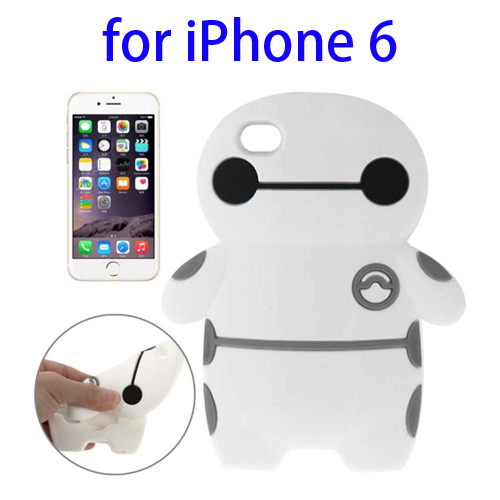 Baymax Pattern Protective Soft Silicone Back Cover Case for iPhone 6 (White)