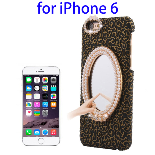Stereoscopic Diamond Encrusted Mirror & Bowknot Plastic Case for iPhone 6 (Black)