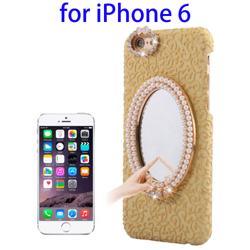 Stereoscopic Diamond Encrusted Mirror & Bowknot Plastic Case for iPhone 6 (Gold)