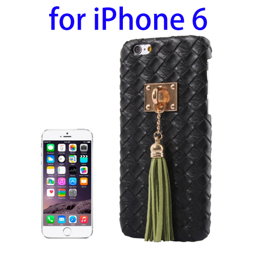 Weave Texture & Stereoscopic Pendant Plastic Back Cover Case for iPhone 6 (Black)