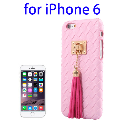 Weave Texture & Stereoscopic Pendant Plastic Back Cover Case for iPhone 6 (Pink)
