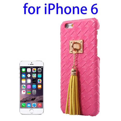 Weave Texture & Stereoscopic Pendant Plastic Back Cover Case for iPhone 6 (Rose)