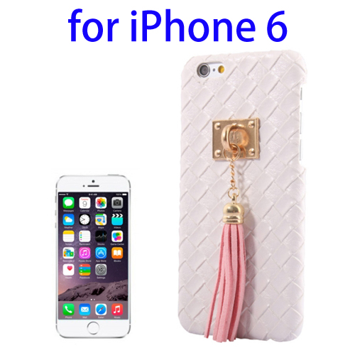 Weave Texture & Stereoscopic Pendant Plastic Back Cover Case for iPhone 6 (White)