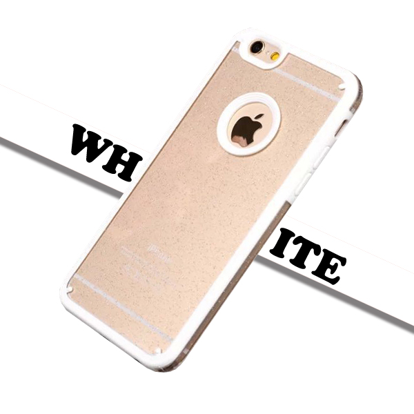 Shimmering Powder Style TPU and PC Protective Case Cover for iPhone 6 with Lanyard (White)