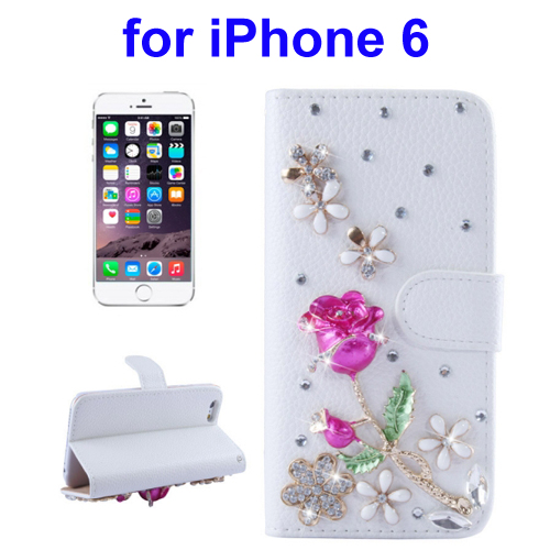 Stereoscopic Diamond Encrusted Horizontal Leather Case Cover for iPhone 6 with Holder and Card Slot