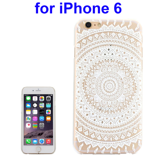 Ultra-Thin Carved Flower Pattern Transparent Frame PC Protective Case for iPhone 6 (Pattern 1)