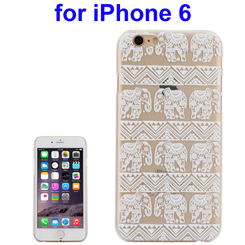 Ultra-Thin Carved Flower Pattern Transparent Frame PC Protective Case for iPhone 6 (Pattern 2)