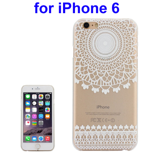 Ultra-Thin Carved Flower Pattern Transparent Frame PC Protective Case for iPhone 6 (Pattern 4)