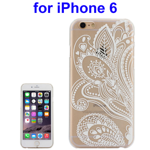 Ultra-Thin Carved Flower Pattern Transparent Frame PC Protective Case for iPhone 6 (Pattern 5)