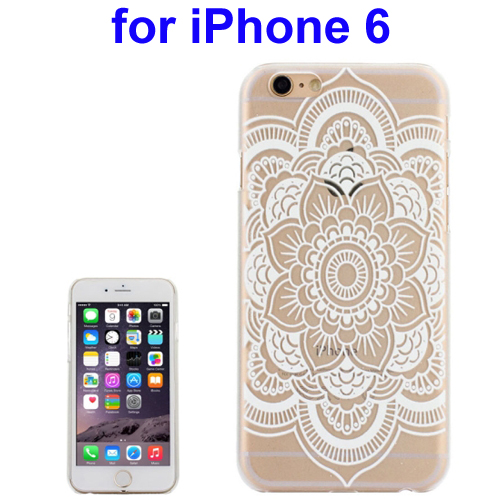 Ultra-Thin Carved Flower Pattern Transparent Frame PC Protective Case for iPhone 6 (Pattern 7)